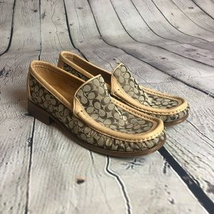 Coach Wooden Heeled Monogrammed Loafers
